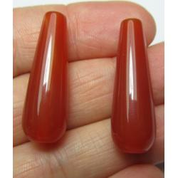Goccia Agata Liscia Colorata Salmone/Marrone 30x10 mm - 1 pz