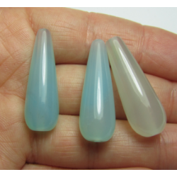 Agate Drop Dyed Motley Light Azure/Light Aqua   30x10 mm   -  1 pc