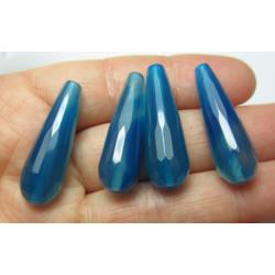 Goccia Agata Sfaccettata Colorata Azzurro/Blu Vaiegato 30x10 mm - 1 pz