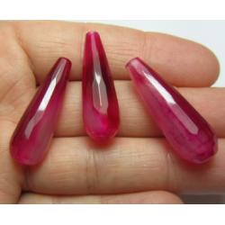 Agate Faceted Drop Dyed Motley Fuchsia  30x10 mm   -  1 pc