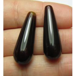 Goccia Agata Liscia Colorata Marrone Scuro   30x10 mm  -  2 pz