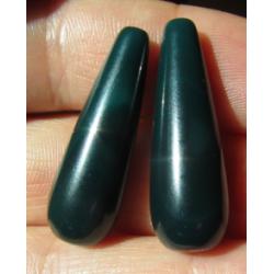 Goccia Agata Liscia Colorata Verde Scuro   30x10 mm  -  2 pz