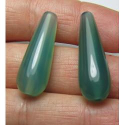 Goccia Agata Liscia Colorata Verde Acqua   30x10 mm  -  2 pz