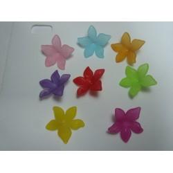 Perle a Fiore  in Acrilico  29  mm Colori Trasp.  Misti  - 5  pz
