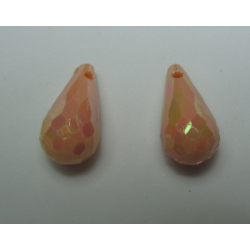 Acrylic Faceted  Drops  17x9 mm  Peach AB  - 2 pcs