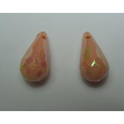 Goccia sfaccettata  in acrilico  17x9 mm  Peach  AB  -  2 pz