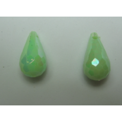 Acrylic Faceted  Drops  17x9 mm Light Green    AB  - 2 pcs
