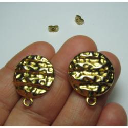 Zamak  Round Bossed  Ear Stud  20   mm  Shiny Gold/Bronze  Color - 2  pcs