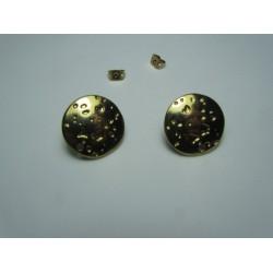 Zamak Carved  Round  Ear Stud  19  mm  Shiny Gold/Bronze  Color - 2  pcs