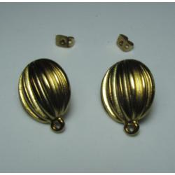 Zamak Striped Oval   Ear Stud  17 x 21  mm  Shiny Gold/Bronze  Color - 2  pcs