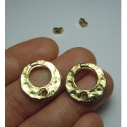 Zamak Holey Bossed Round  Ear Stud  18  mm  Shiny Gold/Bronze  Color - 2  pcs