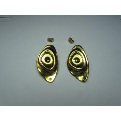 Perno in Zama  Ovale con Cerchi   31 x 18  mm  Color Oro/Bronzo Lucido   -   2 pz