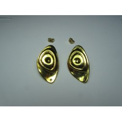 Zamak  Oval With Circles   Ear Stud  31 x 18   mm  Shiny Gold/Bronze  Color - 2  pcs