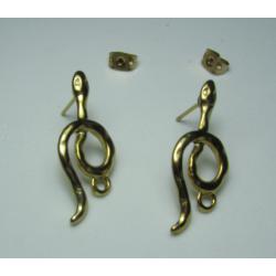 Zamak Snake  Ear Stud  28 x 16   mm  Shiny Gold/Bronze  Color - 2  pcs