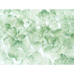 Flower Cup Beads  7x5 mm  Crystal Green - 25 pcs