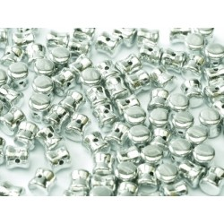 Diabolo Shape Beads  6x4 mm  Silver  -  30 pcs