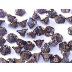 Flower Cup Beads 7x5 mm Crystal Lila Vega Luster - 25 pcs