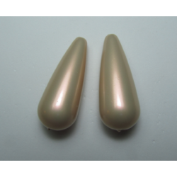 Resin Drop 33x13 mm Iridescent Rose/Beige - 2 pcs