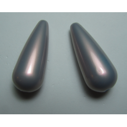 Resin Drop 33x13 mm Iridescent Grey - 2 pcs