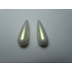 Resin Drop 33x13 mm Iridescent White/Light Gold - 2 pcs