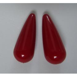Resin Drop 33x13 mm  Red  Luster  -  2 pcs
