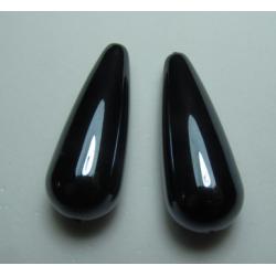 Resin Drop 33x13 mm  Blue/Hematite   Luster  -  2 pcs