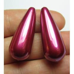 Resin Drop 33x13 mm  Hot Pink   Luster  -  2 pcs