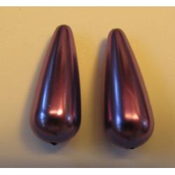 Resin Drop 33x13 mm  Lilac/Violet   Luster  -  2 pcs