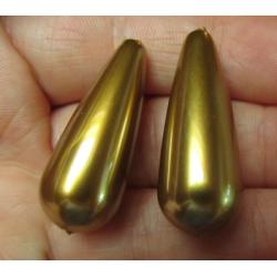 Resin Drop 33x13 mm  Metallic Gold  -  2 pcs