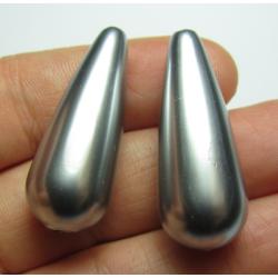 Resin Drop 33x13 mm  Metallic Silver  -  2 pcs