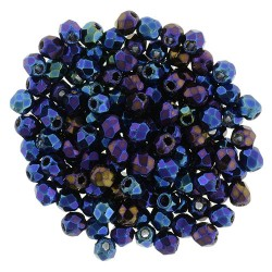 Fire Polished Faceted Round Beads  2 mm Iris Blue   - 50 pcs