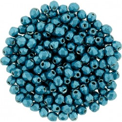 Fire Polished Faceted Round Beads  2 mm Color Trends Saturated Metallic Shaded Spruce   - 50 pcs
