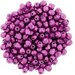 Fire Polished Faceted Round Beads  3 mm Color Trends Saturated Metallic Pink Yarrow -    - 50 pcs