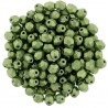 Fire Polished Faceted Round Beads  4 mm Color Trends Saturated Metallic Greenery - 50 pcs