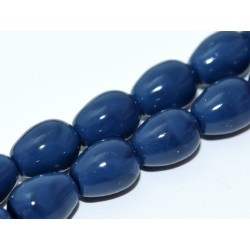 Czech  Plain  Glass Tears/Pears  11 x 8 mm  Baltic Blue  -  4  pcs