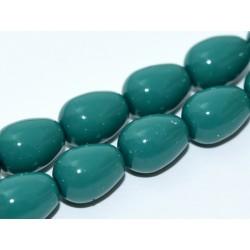 Czech Plain Glass Tears/Pears 11 x 8 mm Green Jade - 4 pcs