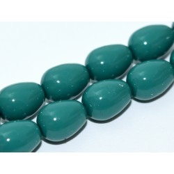 Gocce/Pere di Boemia Lisce 11 x 8 mm Green Jade - 4 pz