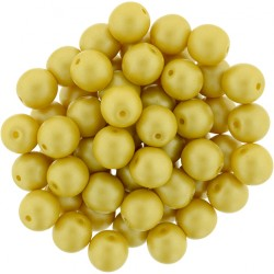 Perle Tonde in Vetro di Boemia  6 mm Powdery  Yellow  -  25  Pz