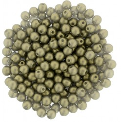 Perle Tonde in Vetro di Boemia  3 mm  Powdery Antique Gold  - 50  Pz