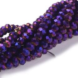 Rondelle Sfaccettate in Vetro 3 x 2  mm  Viola Metallico  - 1 Filo da circa 36 cm