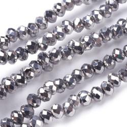 Rondelle Sfaccettate in Vetro 3 x 2  mm  Argento  Metallico  - 1 Filo da circa 36 cm