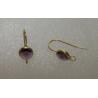 Brass Hook Earwire  21x8,5x4,5 mm  Gold  Color Base, Purple   Glass Rivoli  - 2 pcs