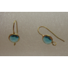 Brass Hook Earwire  21x8,5x4,5 mm  Gold  Color Base,  Aquamarine  Glass Rivoli  - 2 pcs