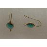 Brass Hook Earwire  21x8,5x4,5 mm  Gold  Color Base,  Blue Zircon   Glass Rivoli  - 2 pcs