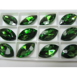 Horse Eye Faceted  Glass Cabochon 17x32  mm  Fern Green   - 1 pc