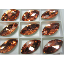 Horse Eye Faceted Glass Cabochon 17x32 mm Peach - 1 pc