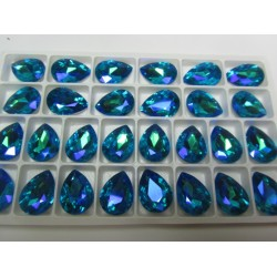 Teardrop Glass  Cabochon  13 x 18 mm  Dark Aquamarine AB  - 1 pc