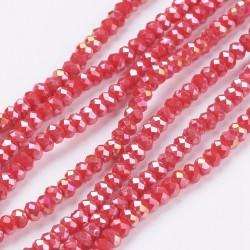 Rondelle Sfaccettate in Vetro 3 x 2  mm  Orange/ Red  AB  - 1 Filo da circa 41 cm