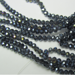 Glass Faceted Oval Beads 4x3 mm  Marine  Blue AB - 1 Strand of about 40 cm