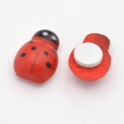 Wooden Ladybug Cabochon  13 x 9 x 5 mm Red  - 5  pcs